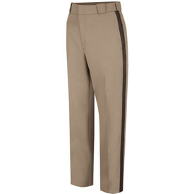 Horace Small Men's Virginia Sheriff Pants  -  Pink Tan Front View of striped trousers with 2 Straight Front Pockets with Triangle Bar tacks, zipper closure wide belt loop and waist and a crease on each leg.
