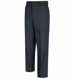 Horace Small Men's Stretch Uniform Pants - Dark Navy 4 pocket men's long work uniform pants with wide waistband, belt loops, 2 quarter top front pockets, zipper fly and permanent creases on both front legs. Front view.