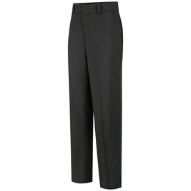 Horace Small Women's Stretch 4 Pocket Trouser - Black women's pants with wide waistband, 2 front hip pockets, zipper front, belt loops and permanent crease on the front of both legs. Front view.