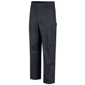 Horace Small 6 Pocket Women's Cargo Uniform Pants - Dark Navy Front View of Cargo Trousers with wide belt loops, 2 Quarter-Top Front Pockets, a cargo pocket on the side of each leg and permanent creases on  each leg.
