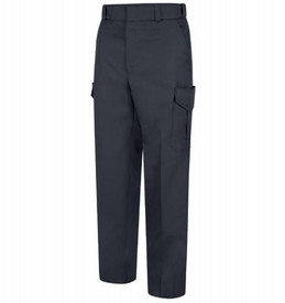 Horace Small Women's Navy Weave Cargo Trousers - Front View Dark Navy  of Women's cargo pants with belt loops, 2 Quarter-Top Front Pockets , a cargo pocket on the side of each leg and crease on both legs.