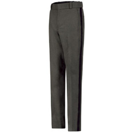 Horace Small Ohio Sheriff Striped Trousers - Horace Small Grey Ohio Sheriff pants with wide waistband, 2 hip pockets, belt loops, zipper fly and black stripes down the side of each leg.   Front view.