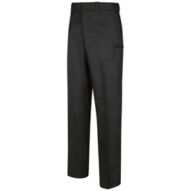 Horace Small Men's Cargo All Season Trouser - black men's work pants with hidden cargo pocket, 2 Quarter top front pockets, belt loops and concealed cargo pocket on both side of legs. Front view.
