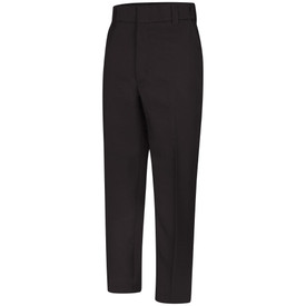 Horace Small Men's Utility Pocket Sentry Trouser - Black Men's Trouser with 2 front quarter top pockets, concealed zipper, wide waist, wide belt loops and creases on both front legs. Front view.