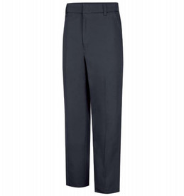 Horace Small Cotton Station Wear Trouser - Dark Navy Front View of cotton station wear trousers with belt loops, 2 Quarter Top Front Pockets and creases on front of pants.