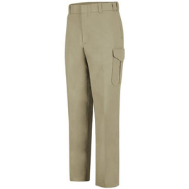 Horace Small 6 Pocket Men's Cargo Officer Pants -  Silver Tan long work pants with 2 quarter front hip pockets, a cargo pocket on the side of each leg, front leg creases, belt loops and a wide waist. Front view.