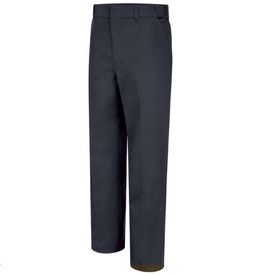 Horace Small 4 Pocket Women's Uniform Trouser - Dark Navy long work pants with  2 Quarter top front pockets, belt loops, concealed zipper and creases on the front of both legs.. Front view.