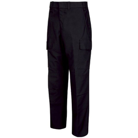 Horace Small Men's Ripstop Cargo Pants - Black ripstop cargo long work pants with 2 Quarter top bottom reinforced front pockets, a cargo pocket on each leg, concealed zipper and belt loops. Front view.