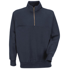Horace Small Unisex EMT   Fleece Quarter Zip Shirt - Dark navy quarter zip long sleeve shirt with reinforced bottom rib-knit waistband and tunnel collar. 2 Seam hand-warmer pockets and quarter zip front closure and 1 chest pocket Front view.