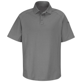 Horace Small  Rib Knit Short Sleeve Polo Shirt - Grey short sleeve polo shirt with rib knit collar and 3 Button front placket.  Front view.