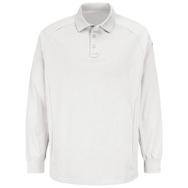 Horace Small Rib Knit Long Sleeve Polo Shirt - white long sleeve polo shirt with dyed match rib knit collar, 3 Button front placket and interlined mic loop at base of placket with left shoulder seams. Front view.