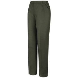 Horace Small Women's Land Management Field Pants - earth green women's twill long work pants with  belt loops, 2 Quarter top front pockets and zipper closure. Front view.