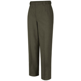 Horace Small Women's Poly Wool Dress Pants - earth green women's tropical dress work pants with belt loops, side elastic insert on the side of the waistband, 2 Quarter top front pockets, zipper fly and permanent creases on both legs. Front view.