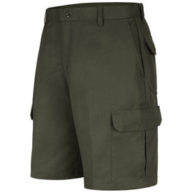 Horace Small Land Management Men's Cargo Shorts - earth green men's jean style cargo shorts with double-needle chain stitch and wide ladder stitch belt loops, 2 Quarter top front pockets and a cargo  on the side of each leg . Front view.