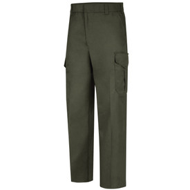 Horace Small Land Management Men's Cargo Pants - earth green men's cargo trouser with  tacked at top & insert belt loops, 2 Quarter top front pockets, zipper closure and a cargo pocket closure on the side of each leg. Front view.