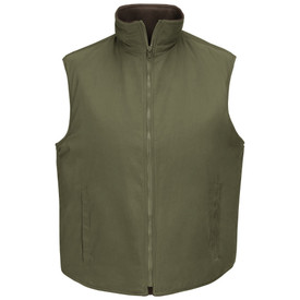 Horace Small Land Management Fleece Vest - Horace Small earth green unisex  sleeveless fleece work vest with front zipper closure, tunnel collar and 2 Front single-welt slash pockets. Front view.