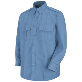 Horace Small Security Long Sleeve Poplin Shirt - medium blue sentinel long sleeve work shirt with 2 piece lined banded collar  topstitched w/ collar stays, 7 Button center front placket, 2 Hex center pleat flap pockets with hook & loop closure and button and 2 creases on the front. Front view.