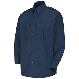 Horace Small Unisex Security Long Sleeve Button Shirt - navy sentinel long sleeve security work shirt with view 7 button Center front placket, collar with stays, no creases and 2 Front hex-style pockets with center pleat and flaps. Front view.