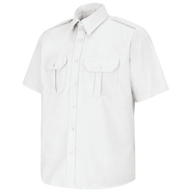 Horace Small Security Button Front Short Sleeve Shirt - white sentinel short sleeve Security work shirt with 7 Button center front placket, 2 Front hex-style pockets with center pleat and flaps, and no creases. Front view.