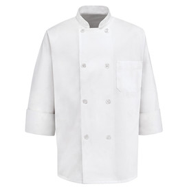 Chef Designs Eight Pearl Button Chest Pocket Chef Coat - Chef Designs white Long Sleeve chef coat with Stand-up Collar and Pleated Cuffs. 1 Left Chest Pocket and 8 Front Buttons. Front Button Closures.