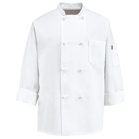 Chef Designs Eight Knot Button Double Breasted Chef Coat - Chef Designs white long sleeve Chef Coat with stand up collar and vented cuffs. 1 left chest pocket and 1 left arm pocket. 8 knot buttons front closure. Front view.