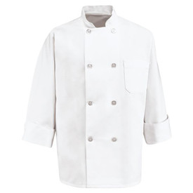 Chef Designs Eight Pearl Button Double Breasted Chef Coat - Chef Designs white long sleeve Chef Coat with stand up collar and vented cuffs. 8 front button closures and 1 left arm pocket. Front view.