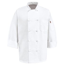 Chef Designs Ten Knot Button Ventilated Executive Chef Coat - Chef Designs white long sleeve Chef Coat with stand up collar and vented cuffs. 1 left chest pocket and 1 left arm pocket. 10 knot buttons front closure. Front view.