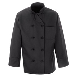 Chef Designs Double Breast Reversible Black Chef Coat - Chef Designs black long sleeve Chef Coat with stand up collar and vented cuffs. 1 left chest pocket and 1 left arm pocket. 10 knot buttons front closure. Front view.