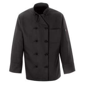 Chef Designs Black Ten Knot Button Double Breasted Chef Coat - Chef Designs black long sleeve Chef Coat with stand up collar and vented cuffs. 1 left chest pocket and 1 left arm pocket. 10 knot buttons front closure. Front view.
