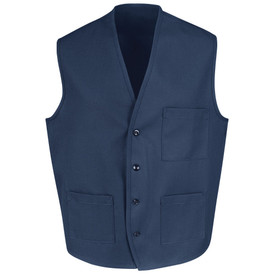 Chef Designs Four Button Front 3 Pocket  Vest - navy blue short sleeve culinary vest with trim neckline and 4 front button closures. 1 left chest pocket and 2 lower pocket. Front view.