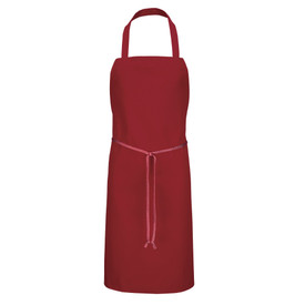 Chef Designs Tubular Braid Ties No Pocket Standard Bib Apron - dark red apron dress with straps and front pocket w/ drawstring. Front view.