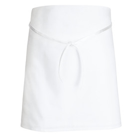 Chef Designs White  Tubular Braid Ties 4 Way Bar Apron - white short 4 way apron with front drawstring. Front view.