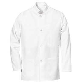 Chef Designs Military Collar Four Pearl Button Bus Coat - white long sleeve work shirt with stand up collar and trim cuffs w/ 4 front button closures. 1 left chest pocket and 2 lower pockets. Front view.