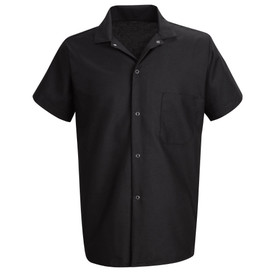 Chef Designs Five Gripper Closure Chest Pocket Cook Shirt - black short sleeve work shirt with banded collar and 4 front button closures. 1 left chest pocket. Front view.