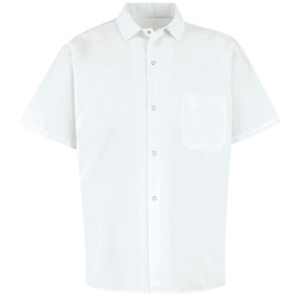 Chef Designs Five Gripper Closure Chest Pocket Cook Shirt - white short sleeve work shirt with banded collar and 4 front button closures. 1 left chest pocket. Front view.