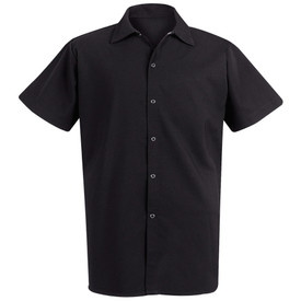 Chef Designs Unisex Gripper Closure Long Cook Shirt - black short sleeve work shirt with 4 front button closure and collar. Front view.