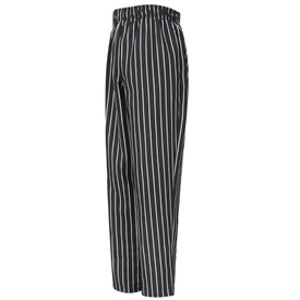 Chef Designs Elastic Waist Drawstring Baggy Chef Pant - black/White Stripe Baggy long work pants with full drawstring waistband and 2 on seam pockets.