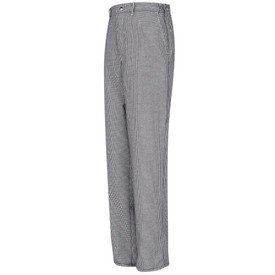 Chef Designs Snap and Zipper 4 Pocket Checked Cook Pants - Chef Designs Black and White Chef Cook Pants with elastic waist.