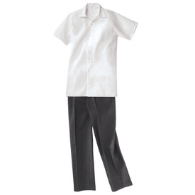Chef Designs Black Elastic Waist Zipper Fly Baggy Chef Pants  - Black baggy cook pants.