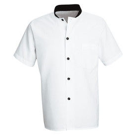 Chef Designs Black Trim Culinary Shirt - white short sleeve work shirt with black trim collar and 5 front button closure. 1 left arm pocket.