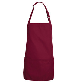 Chef Designs Adjustable Short Bib Apron - burgundy apron with adjustable straps with front pockets.
