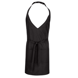 Chef Designs Tuxedo Black Apron - black v neck cut apron with pocket.
