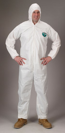 Lakeland MicroMax NS Attached Hood Coverall -  General Purpose white disposable Coverall with Zippered Front, Hood, and Elastic Wrists and Ankles