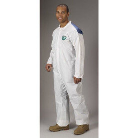 Lakeland Breathable MicroMax NS Cool Suit Coverall -  MicroMax NS Cool Disposable white Coverall Suit with Zipper Enclosure worn by man