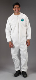 Lakeland MicroMax Disposable Elastic Ankle Coverall - Front View of a man wearing a Lakeland MicroMax Disposable White Coverall with Zippered Front, and Elastic Wrists and Elastic Ankles