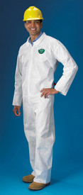 Lakeland SafeGuard SMS Economy Disposable Coverall - Front View of a man wearing a Lakeland White Disposable Coverall with Zippered Front
