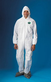 Lakeland SafeGuard SMS Economy Hooded Coverall - Front View of a man wearing a Lakeland White Disposable Coverall with Zippered Front, Hood, Boots, And Elastic Wrists