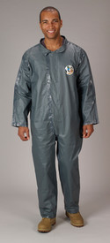Lakeland Disposable FR Chemical Pyrolon CRFR Coverall - Front View of a man wearing a Lakeland Pyrolon Dark gray shiny disposable collared coverall with loose ankles and wrists