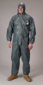 Lakeland Chemical Disposable Pyrolon CRFR Hooded Coverall - Front View of a man wearing a Lakeland Pyrolon Dark gray shiny disposable coverall with attached elastic hood and elastic ankles and wrists