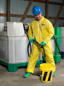Lakeland ChemMax1 Protective Serged Seam Coverall - Front View of a man wearing a Lakeland ChemMax 1 Yellow Serged Seam Coverall with Zippered Front